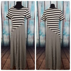 NWT Who What Wear Asymmetric Striped Maxi Dress